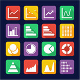 Charts Icons Flat Design Royalty Free Stock Image