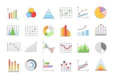 Charts  icons set set. Set of 24 Charts  icons set Royalty Free Stock Photo