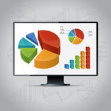 Charts On Monitor. Vector illustration with charts, diagrams and graphs Royalty Free Stock Photos