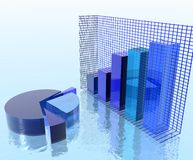 Charts over Water. Abstract blue charts over watter: pie and bar chart Stock Images