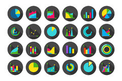Charts round vector icons set Stock Photo