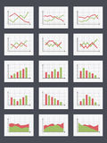 Charts. Set of different graphs and charts, green and red colors Royalty Free Stock Images