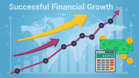 Charts showing successful growth of money. Colorful vector graphic and chart representing fast financial growth on blue world map background Stock Photography