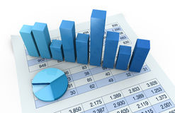 Charts and spreadsheets. Lot of numbers in a spreadsheet and charts over it (3d render Royalty Free Stock Photography