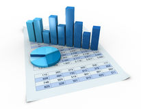 Charts and spreadsheets. Lot of numbers in a spreadsheet and charts over it (3d render Stock Photos