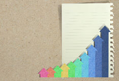 Charts with staple recycled paper craft stic Stock Image