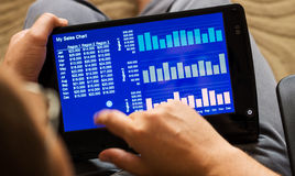 Charts on tablet-pc. Business sales chart on tablet-pc with touchscreen Stock Photography
