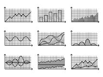 Charts in thin line style Outline graphs for infographic vector illustration. Graphs and charts in thin line style. Outline graphs charts for infographic vector Royalty Free Stock Photography