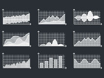 Charts in thin line style Outline graphs for infographic vector illustration. Graphs and charts in thin line style. Outline graphs charts for infographic vector Stock Photo