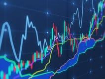 Charts on virtual screen Royalty Free Stock Image