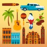 Charuto e outro de Havana objetos dos differents e símbolos culturais de Cuba ilustração royalty free