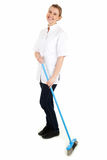 Charwoman cleaning floor by brush Stock Photos