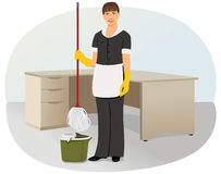 Charwoman. Is cleaning in the office. Maid and household chores Royalty Free Stock Image