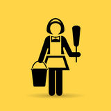 Charwoman maid vector icon. Illustration Royalty Free Stock Photos