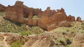 Charyn峡谷在Kasachstan 免版税库存图片