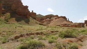 Charyn峡谷在Kasachstan 库存照片