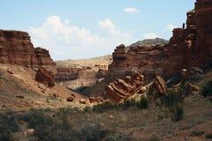 Charyn峡谷,哈萨克斯坦,阿尔玛蒂 库存图片