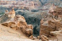 Charyn河的峡谷在哈萨克斯坦 免版税库存照片