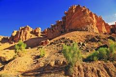 Natural sculptures of the Charyn canyon. Near Almaty, Kazakhstan stock photos
