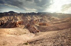 Charyn canyon in Kazakhstan. Charyn grand canyon with rocks in the desert at sunset sky in Kazakhstan Royalty Free Stock Image