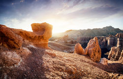 Charyn canyon in Kazakhstan. Charyn grand canyon at surise in Kazakhstan Stock Photos