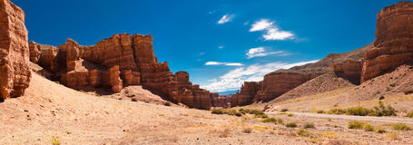 Charyn canyon under blue sky. Kazakhstan Stock Photography
