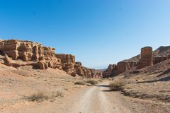 Charyn grand canyon in Kazakhstan. Beautiful view of cliffs from yellow red limestone Stock Photography
