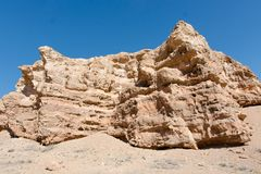 Charyn grand canyon in Kazakhstan. Beautiful view of cliffs from yellow red limestone Royalty Free Stock Photography