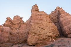 Charyn grand canyon in Kazakhstan. Beautiful view of cliffs from yellow red limestone Stock Image
