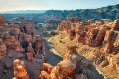 Charyn kanjon i sydostliga Kasakhstan som tas i Augusti 2018 tak arkivbilder