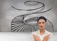 Charyzmatyczny bizneswoman z jej rękami i palców wskazywać krzyżował Obrazy Stock