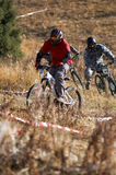 Chase. Bikers on 4x mountain bike race Royalty Free Stock Photography