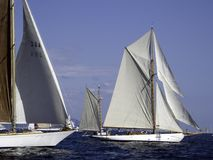 The chase. 2 classic yachts preparing for the lep ahead into the course Stock Image