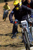 Chase. On mountain bike race Royalty Free Stock Photography