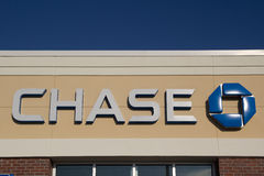 Chase Bank. JACKSONVILLE, FL - MARCH 9, 2014: A Chase logo at a bank branch in Jacksonville. Chase bank is a US bank with more than 5,100 branches and 16,100 Stock Photos