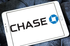 Chase bank logo. Logo of chase bank on samsung tablet Royalty Free Stock Images