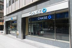 Chase Bank. NEW YORK - JULY 4: Chase Bank branch on July 4, 2013 in New York. JPMorgan Chase Bank is one of Big Four Banks of the US. It has 5,100 branches and Royalty Free Stock Image