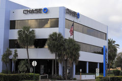 Chase Bank Signs on Office Building. Fort Lauderdale, FL, USA - April 24, 2016: Three large Chase bank signs with logo outside an office building. Chase signs Royalty Free Stock Image