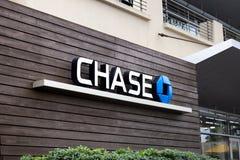 Chase Bank undertecknar arkivfoto