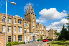 Chase farm hospital in Enfield london. Enfield, london. June 2018. A front external view of Chase Farm hospital in Enfield london Royalty Free Stock Image