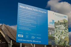 Chase farm hospital in Enfield london. Enfield, london. June 2018. A view of signage at Chase Farm hospital in Enfield london royalty free stock photo
