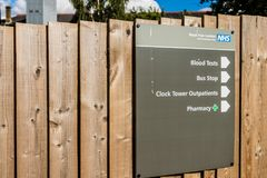 Chase farm hospital in Enfield london. Enfield, london. June 2018. A view of signage at Chase Farm hospital in Enfield london stock photo