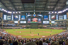 Chase Field. The view behind home plate, inside Chase Field, home of the Arizona Diamondbacks Stock Photos