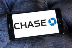 Chase logo. Logo of chase bank on samsung mobile phone a5 Stock Photography
