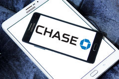 Chase logo. Logo of chase bank on samsung mobile phone a5 on samsung tablet Stock Photo