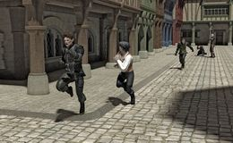 Chase through a Medieval Street. Hue and cry - chase through a Medieval street, 3d digitally rendered illustration Royalty Free Stock Photo
