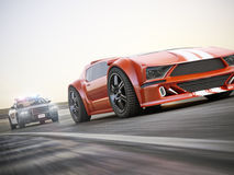 The chase. Police car chasing of an exotic sports car with motion blur. Generic custom photo realistic 3d rendering Royalty Free Stock Photo