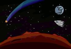 Chase A Star. Small ship follows a star through deep space Royalty Free Stock Photos