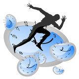 Chase the time. Illustration of silhouette man running above time Royalty Free Stock Images