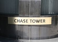 Chase Tower Sign. Chase Tower is a 55-story, Class A office tower that is located at 2200 Ross Avenue in Dallas` Arts District/Midtown area. The 1,253,615-square Stock Photography